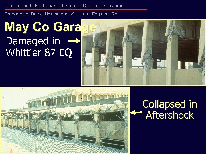Introduction to Earthquake Hazards in Common Structures Prepared by David J Hammond, Structural Engineer