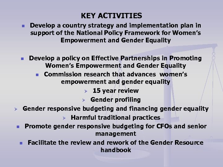 KEY ACTIVITIES n Develop a country strategy and implementation plan in support of the
