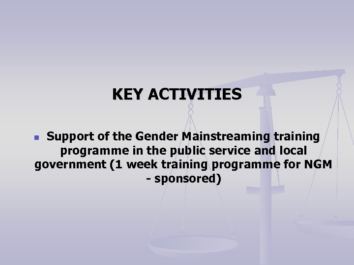 KEY ACTIVITIES Support of the Gender Mainstreaming training programme in the public service and