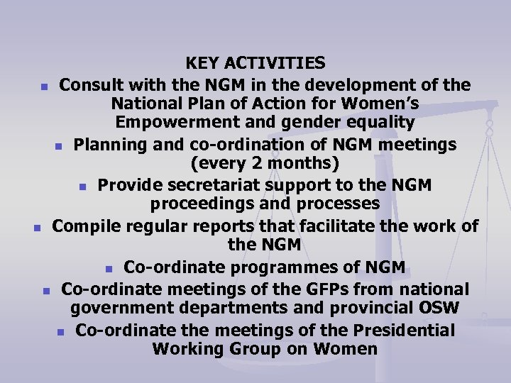KEY ACTIVITIES n Consult with the NGM in the development of the National Plan
