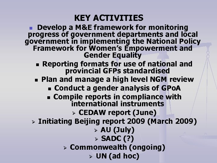 KEY ACTIVITIES Develop a M&E framework for monitoring progress of government departments and local