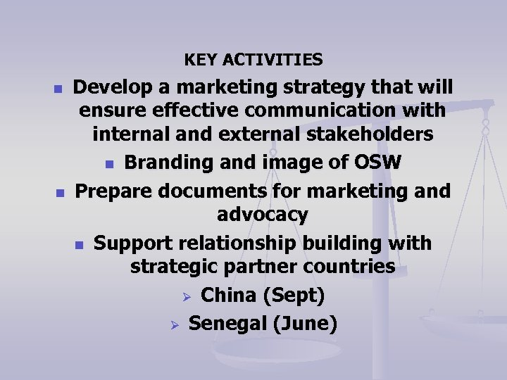 KEY ACTIVITIES n n Develop a marketing strategy that will ensure effective communication with