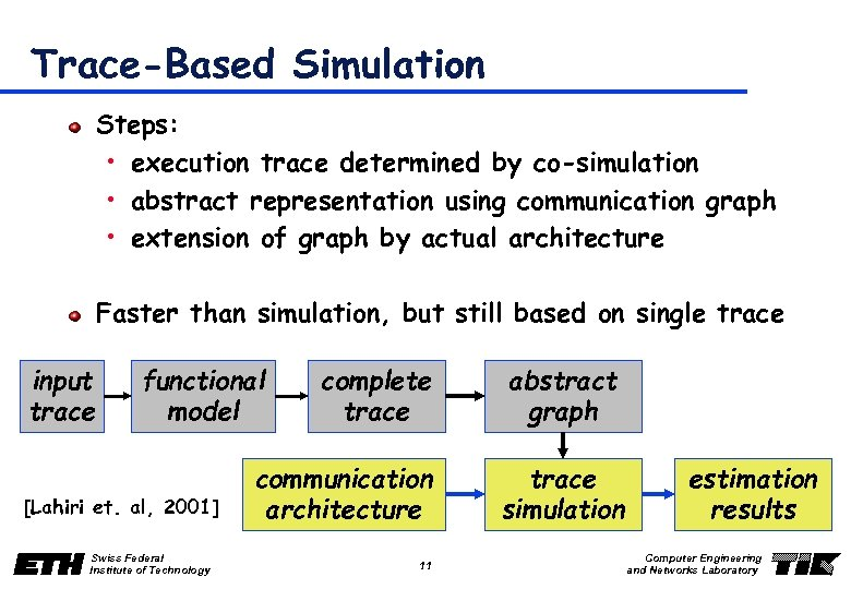 Trace-Based Simulation Steps: • execution trace determined by co-simulation • abstract representation using communication