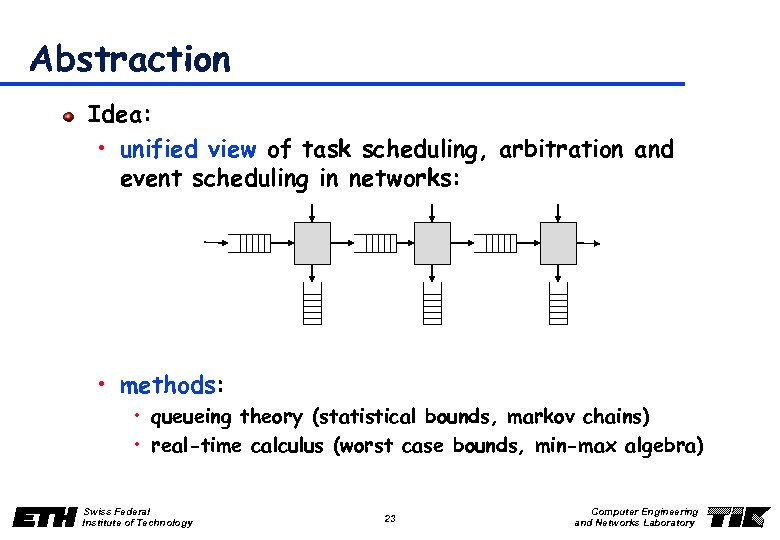 Abstraction Idea: • unified view of task scheduling, arbitration and event scheduling in networks: