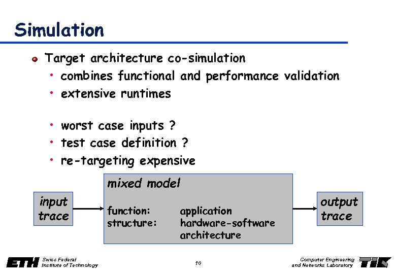 Simulation Target architecture co-simulation • combines functional and performance validation • extensive runtimes •