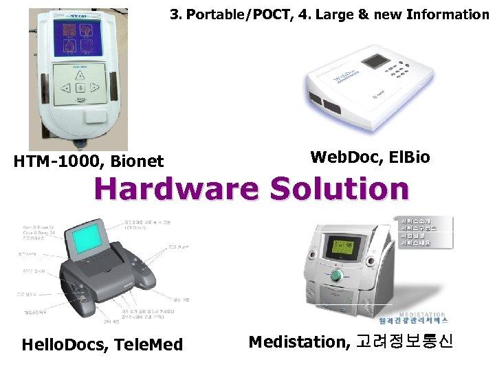 3. Portable/POCT, 4. Large & new Information Web. Doc, El. Bio HTM-1000, Bionet Hardware