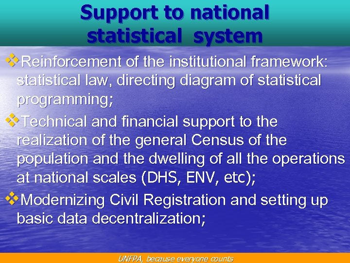 Support to national statistical system v. Reinforcement of the institutional framework: statistical law, directing