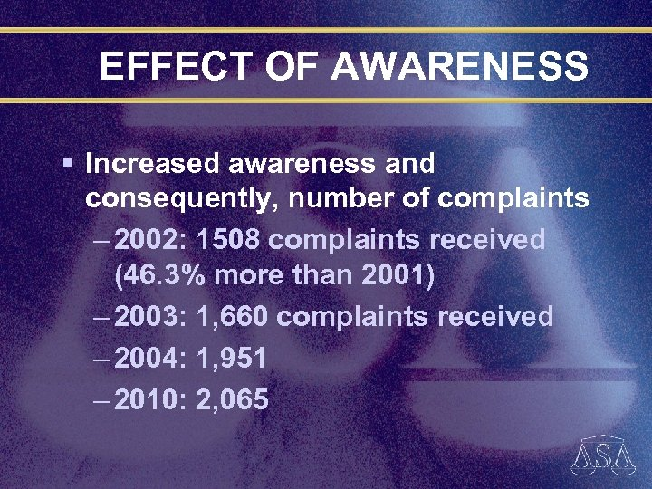 EFFECT OF AWARENESS § Increased awareness and consequently, number of complaints – 2002: 1508