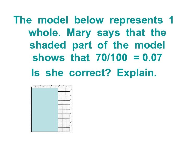 The model below represents 1 whole. Mary says that the shaded part of the