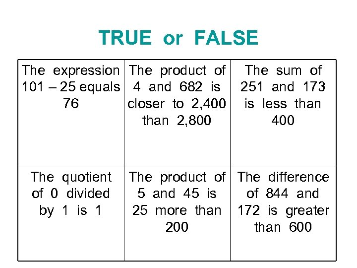 TRUE or FALSE The expression The product of 101 – 25 equals 4 and