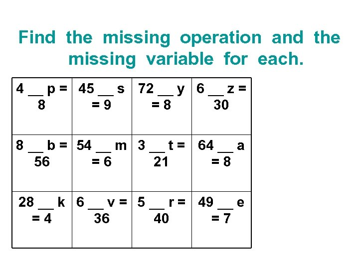 Find the missing operation and the missing variable for each. 4 __ p =