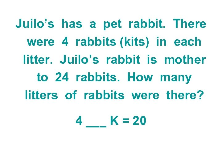 Juilo's has a pet rabbit. There were 4 rabbits (kits) in each litter. Juilo's