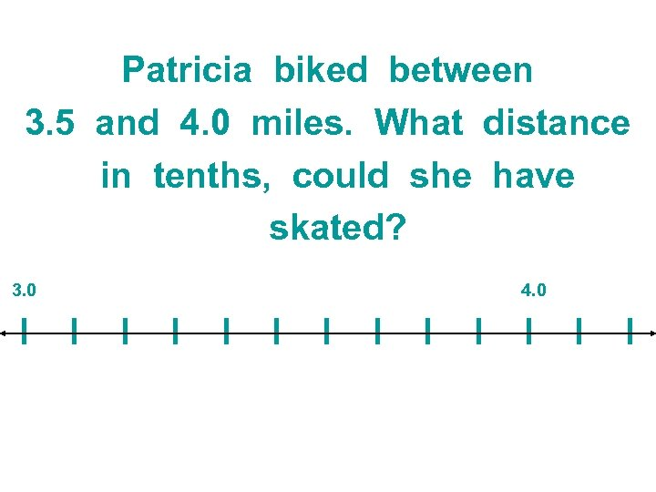 Patricia biked between 3. 5 and 4. 0 miles. What distance in tenths, could