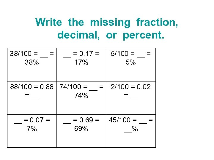Write the missing fraction, decimal, or percent. 38/100 = __ = 38% __ =