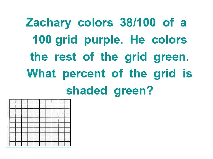 Zachary colors 38/100 of a 100 grid purple. He colors the rest of the