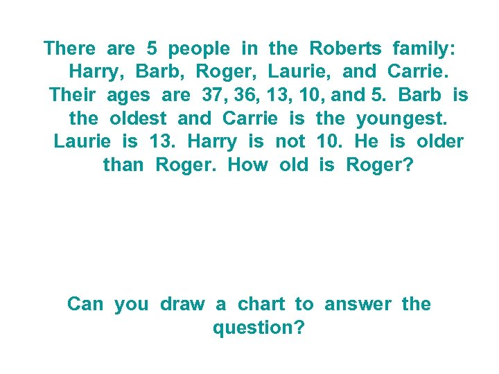 There are 5 people in the Roberts family: Harry, Barb, Roger, Laurie, and Carrie.