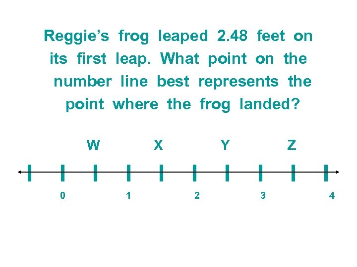 Reggie's frog leaped 2. 48 feet on its first leap. What point on the