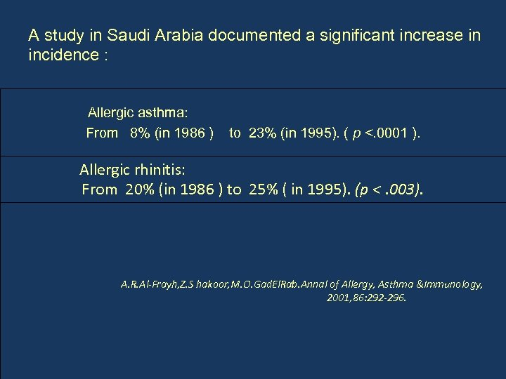A study in Saudi Arabia documented a significant increase in incidence : Allergic asthma: