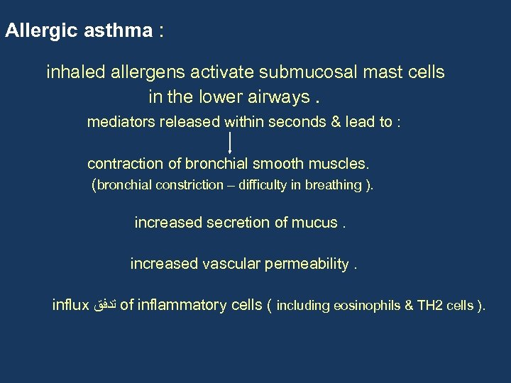 Allergic asthma : inhaled allergens activate submucosal mast cells in the lower airways. mediators