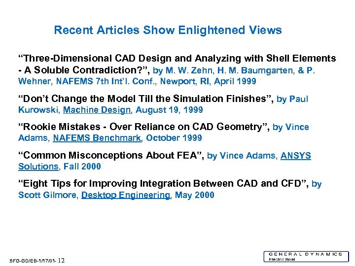 """Recent Articles Show Enlightened Views """"Three-Dimensional CAD Design and Analyzing with Shell Elements -"""
