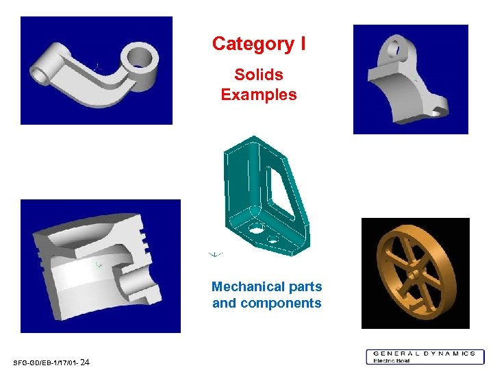 Category I Solids Examples Mechanical parts and components SFG-GD/EB-1/17/01 - 24