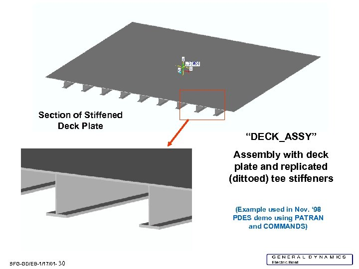 """Section of Stiffened Deck Plate """"DECK_ASSY"""" Assembly with deck plate and replicated (dittoed) tee"""
