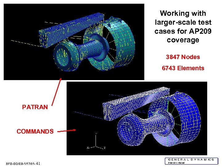 Working with larger-scale test cases for AP 209 coverage 3847 Nodes 6743 Elements PATRAN