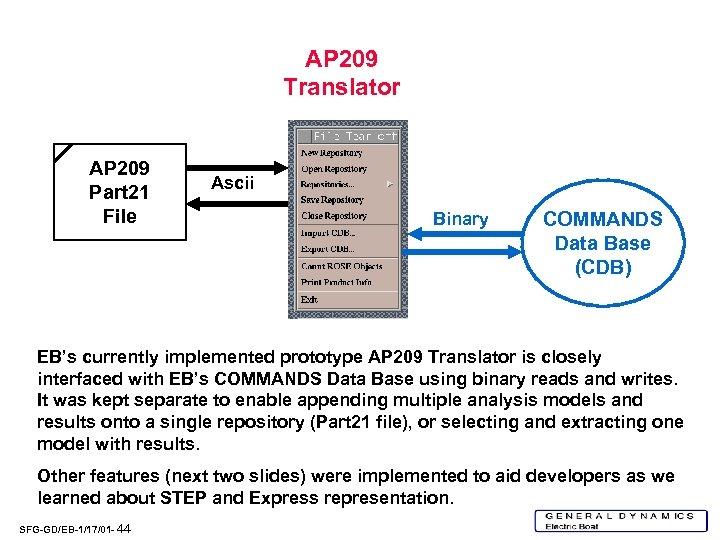 AP 209 Translator AP 209 Part 21 File Ascii Binary COMMANDS Data Base (CDB)