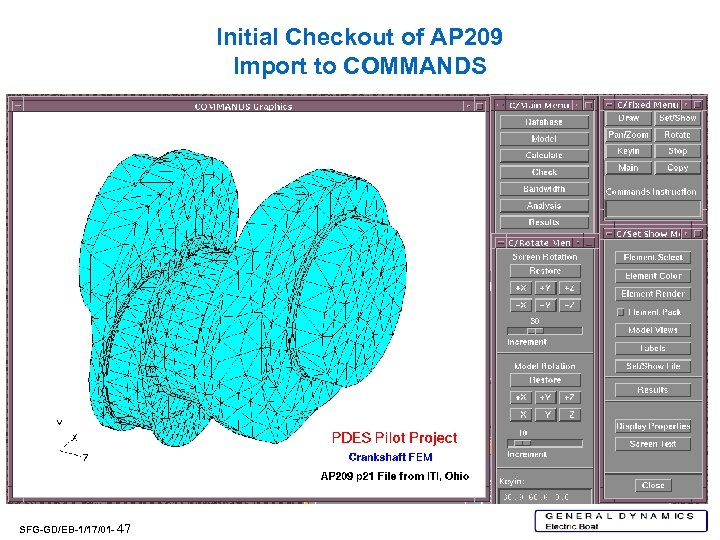 Initial Checkout of AP 209 Import to COMMANDS SFG-GD/EB-1/17/01 - 47