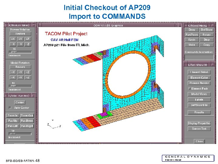 Initial Checkout of AP 209 Import to COMMANDS SFG-GD/EB-1/17/01 - 48