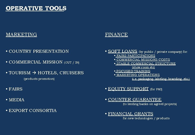 OPERATIVE TOOLS MARKETING FINANCE • COUNTRY PRESENTATION • SOFT LOANS • COMMERCIAL MISSION (OUT