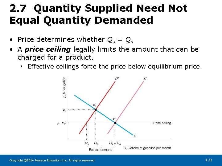 2. 7 Quantity Supplied Need Not Equal Quantity Demanded • Price determines whether Qs
