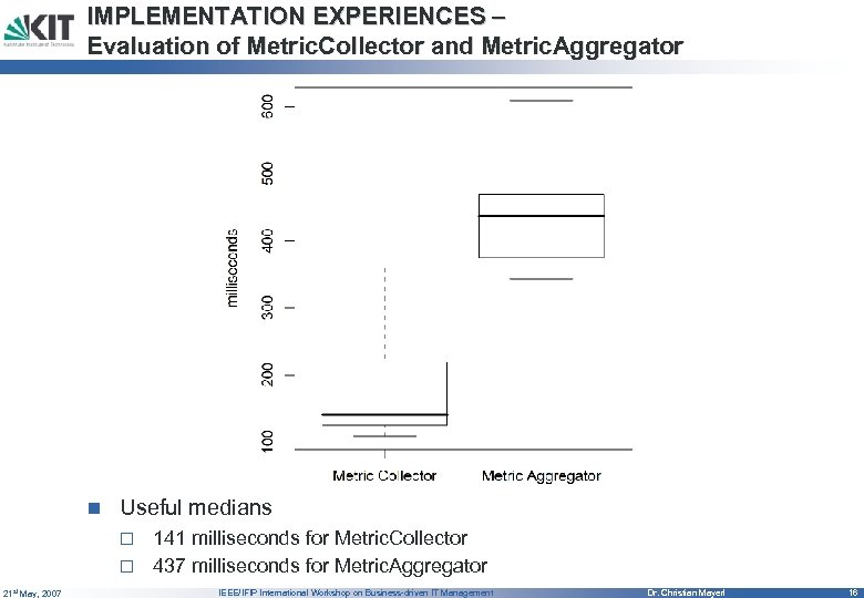 IMPLEMENTATION EXPERIENCES – Evaluation of Metric. Collector and Metric. Aggregator n Useful medians 141