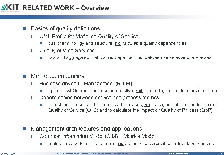 RELATED WORK – Overview n Basics of quality definitions o UML Profile for Modeling