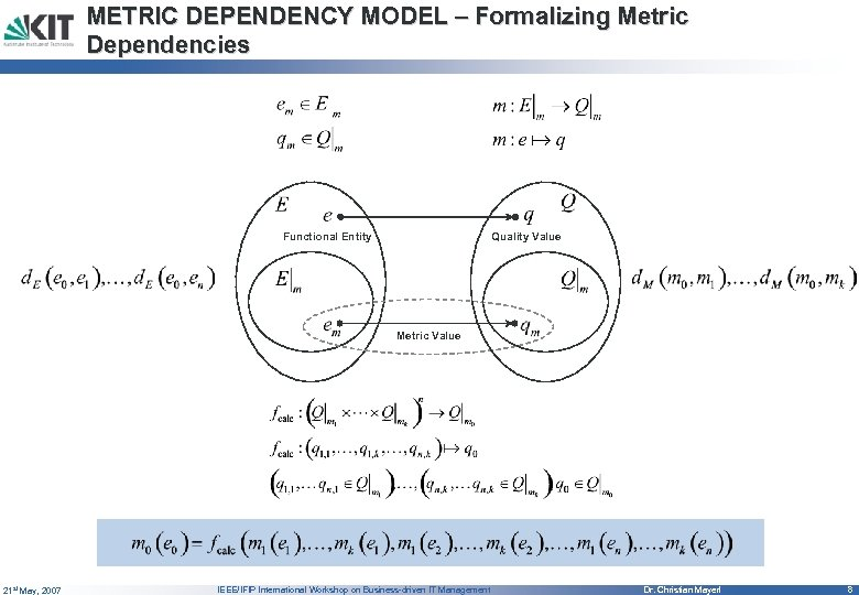 METRIC DEPENDENCY MODEL – Formalizing Metric Dependencies Functional Entity Quality Value Metric Value 21