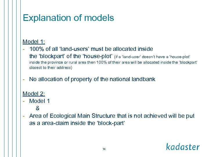 Explanation of models Model 1: - 100% of all 'land-users' must be allocated inside