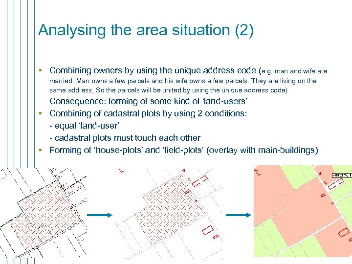 Analysing the area situation (2) § Combining owners by using the unique address code