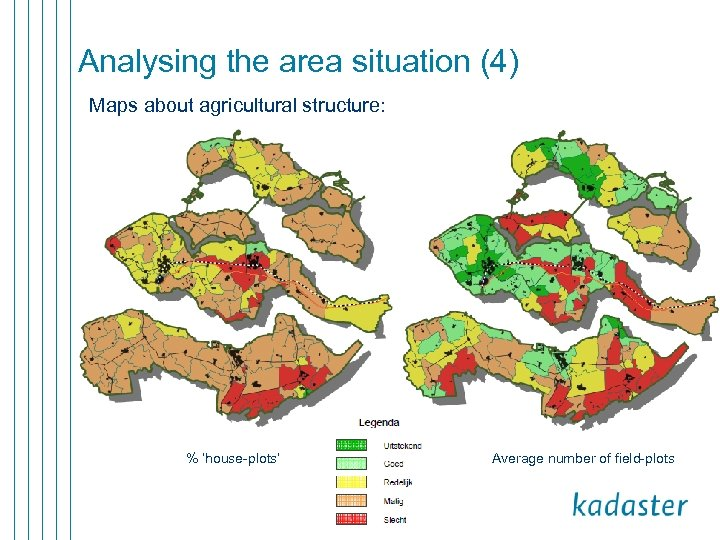 Analysing the area situation (4) Maps about agricultural structure: % 'house-plots' Average number of