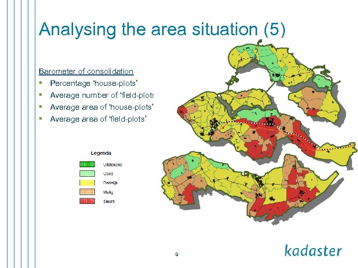 Analysing the area situation (5) Barometer of consolidation § Percentage 'house-plots' § Average number