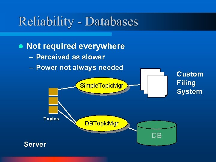 Reliability - Databases l Not required everywhere – Perceived as slower – Power not
