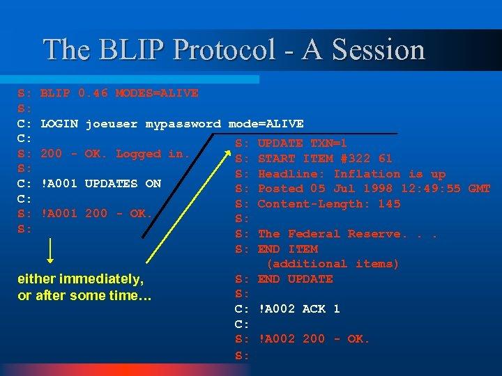 The BLIP Protocol - A Session S: S: C: C: S: S: BLIP 0.