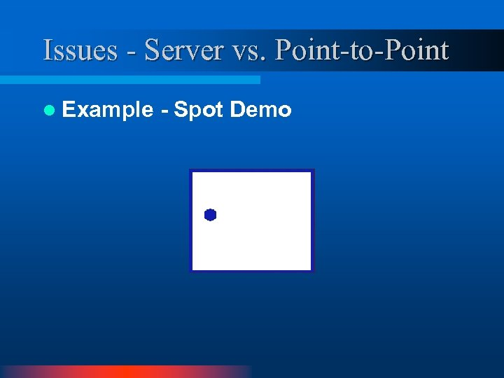 Issues - Server vs. Point-to-Point l Example - Spot Demo