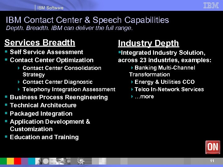 IBM Software IBM Contact Center & Speech Capabilities Depth. Breadth. IBM can deliver the