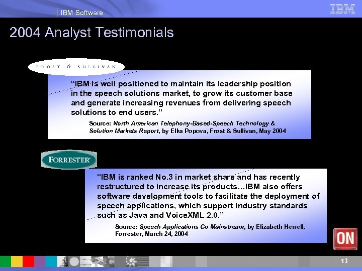 """IBM Software 2004 Analyst Testimonials """"IBM is well positioned to maintain its leadership position"""