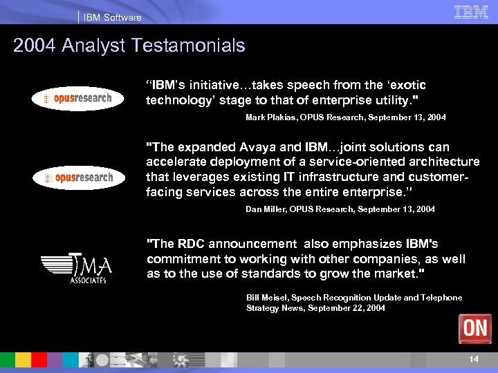 """IBM Software 2004 Analyst Testamonials """"IBM's initiative…takes speech from the 'exotic technology' stage to"""