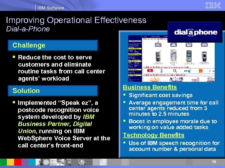 IBM Software Improving Operational Effectiveness Dial-a-Phone Challenge § Reduce the cost to serve customers