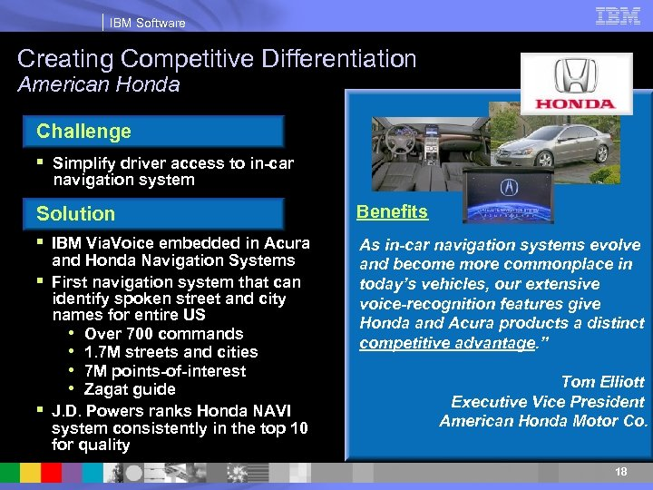 IBM Software Creating Competitive Differentiation American Honda Challenge § Simplify driver access to in-car