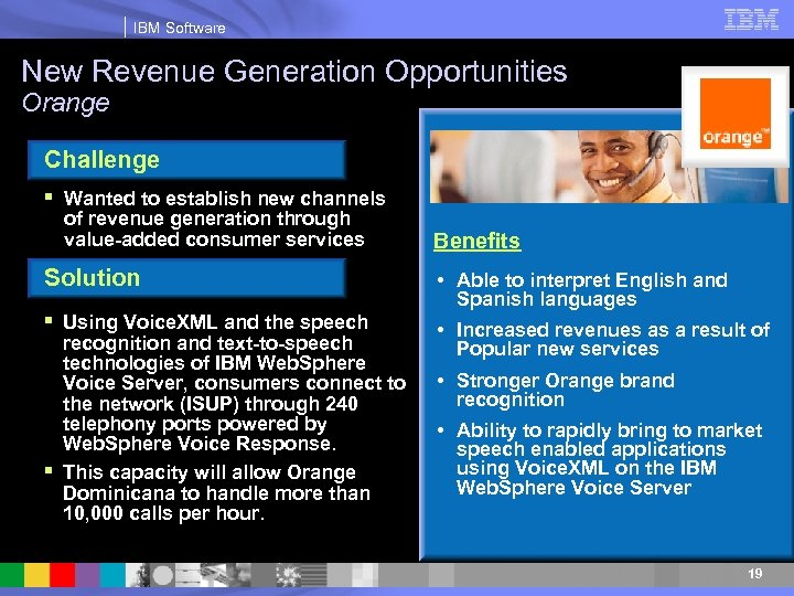 IBM Software New Revenue Generation Opportunities Orange Challenge § Wanted to establish new channels