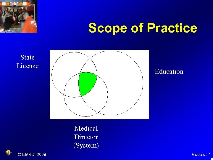 Scope of Practice State License Education Medical Director (System) © EMRCI 2008 Module :