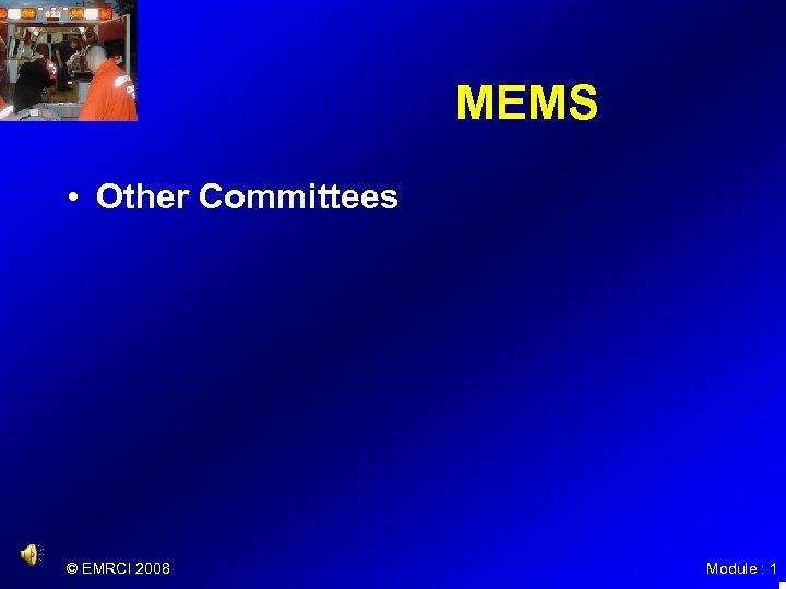 MEMS • Other Committees © EMRCI 2008 Module : 1